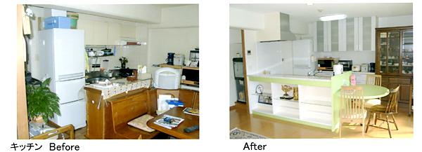 リフォーム キッチンの施工後、施工前