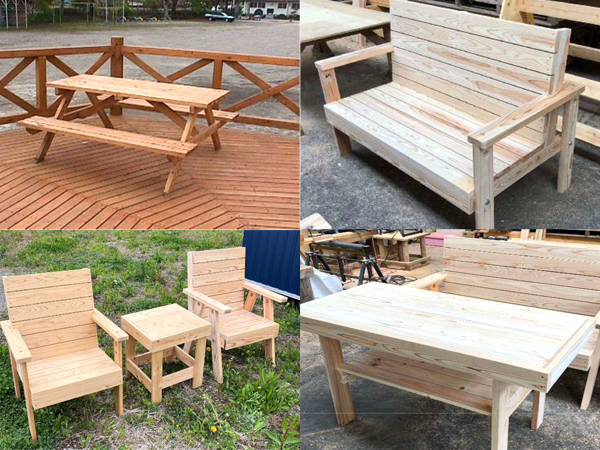 塩谷町 シオヤハウス 組み立て式テーブル・椅子